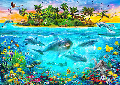 Tropical Fish Digital Art - Dolphin Paradise Island by Jan Patrik Krasny