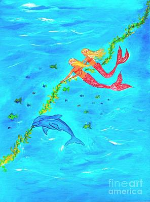 Painting - Dolphin Play Day by Leslie Allen