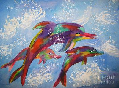 Painting - Dolphin Playjourney by Ellen Levinson