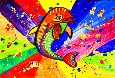 Julia Child Painting - Dolphin Pop Art  by Julia Fine Art And Photography