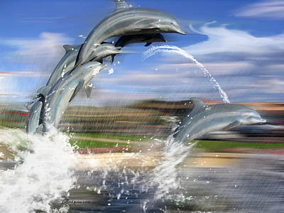 Photograph - Dolphin Race - Features In Comfortable Art And Newbies Group by Ericamaxine Price