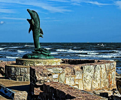 Dolphin Statue Art Print by Judy Vincent