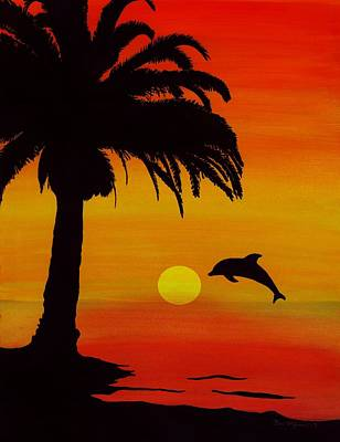 Painting - Dolphin Sunset by Barbara St Jean