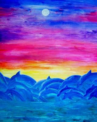 Dolphin Sunset Art Print by Sheri Salin
