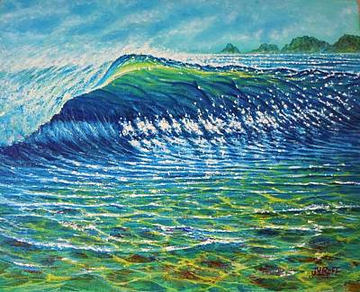 Dolphine Painting - Dolphin Surf by Joseph   Ruff