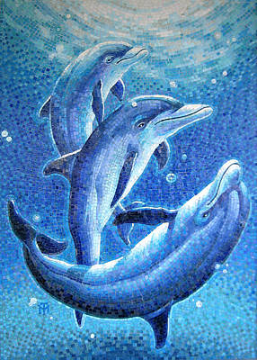 Glass Painting - Dolphin Trio by Mia Tavonatti