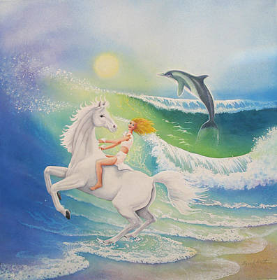 Horses In The Ocean Painting - Dolphin Wave by Beverly Martin