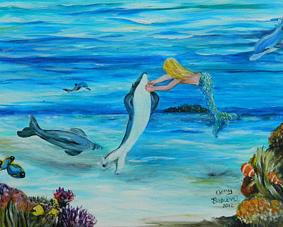 Dolphine Painting - Dolphine Tickle Time by Amy Brown