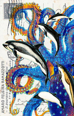 Dolphin Postcard Digital Art - Dolphins And Octopus by Evey Studios