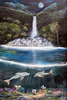 Dolphins At Moonlit Falls Original