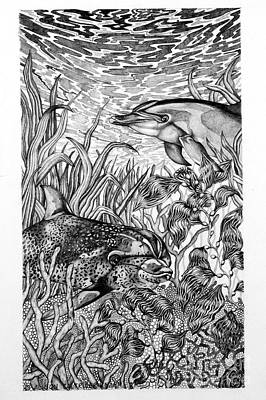 Art Print featuring the drawing Dolphins At Play by Alison Caltrider