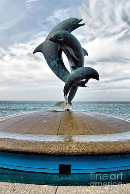 Sand Photograph - Dolphins At Play by Mark Baker