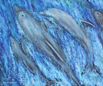 Dolphins At Play Art Print by Penny Birch-Williams