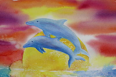 Wall Art - Painting - Dolphins At Sunrise by Sharalyn Edgeberg