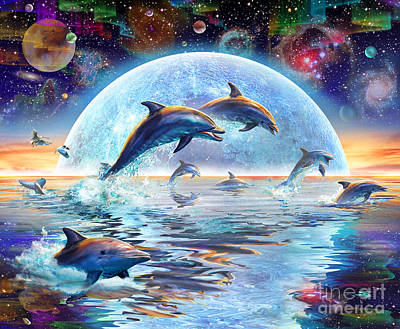 Temple Digital Art - Dolphins By Moonlight by Adrian Chesterman