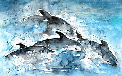 Canary Drawing - Dolphins In Gran Canaria by Miki De Goodaboom