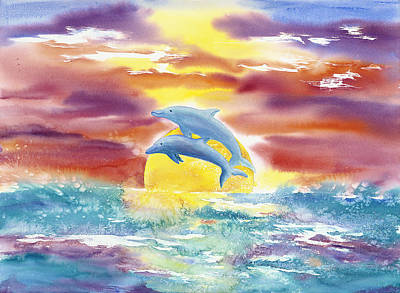 Wall Art - Painting - Dolphins Leaping by Sharalyn Edgeberg
