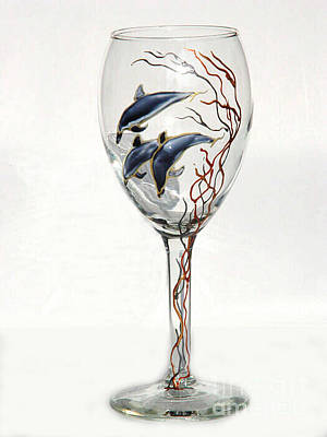 Hand Painted Wine Glass Glass Art - Dolphins by Pauline Ross