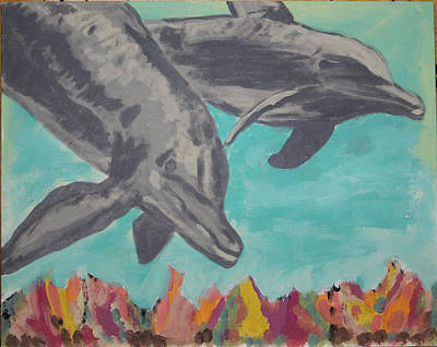 Bottle-nose Painting - Dolphins by Scott Polera