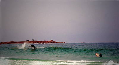 Photograph - Dolphins Swimming With The Surfers At Asilomar State Beach Two by Joyce Dickens