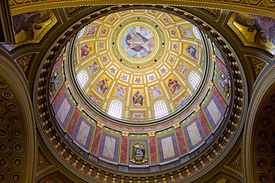 Budapest Sights Photograph - Dome Interior Of The St Stephen Basilica In Budapest by Artur Bogacki