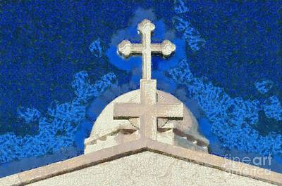 Crosses Painting - Dome Of Agios Georgios Chapel by George Atsametakis