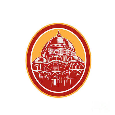 Saint Mary Digital Art - Dome Of Florence Cathedral Front Woodcut by Aloysius Patrimonio