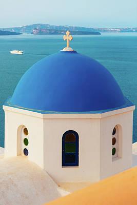 Photograph - Domed Church In Oia, Santorini, Greece by Deimagine