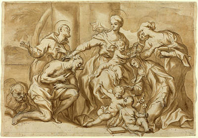 Wash Drawing - Domenico Piola I, Italian 1627-1703, Madonna Surrounded by Litz Collection