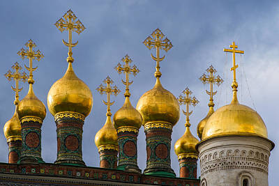 Domes Of The Church Of The Nativity Of Moscow Kremlin - Featured 3 Art Print by Alexander Senin