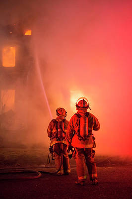 Fire Fighter Photograph - Domestic Fire by Jim West