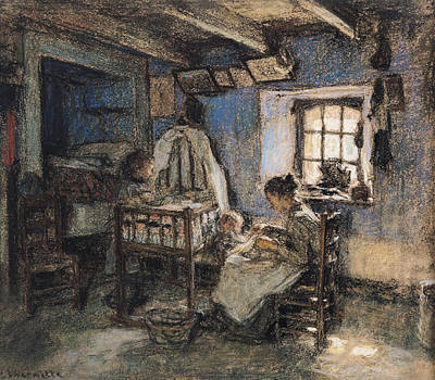 Daily Life Photograph - Domestic Interior, Wissant, 1913 Pastel On Paper by Leon Augustin Lhermitte