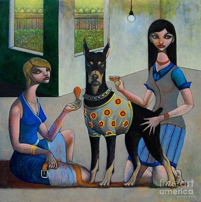 Doberman Painting - Domesticated by Paul Hilario