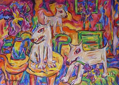 Painting - Domesticated Wolves In Dutch Iris Room by Dianne  Connolly