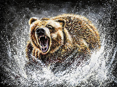 Brown Bear Painting - Dominance by Teshia Art