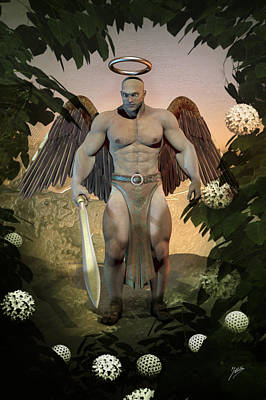 Cherubim Digital Art - Dominant Angel by Quim Abella