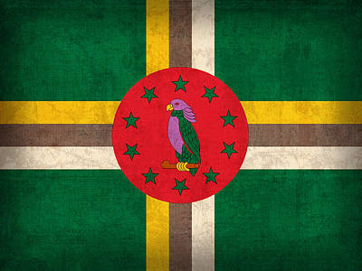 Dominica Flag Vintage Distressed Finish Art Print by Design Turnpike