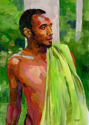 Dominican Boy With Towel Original by Douglas Simonson