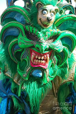 Photograph - Dominican Republic Carnival Parade Green Devil Mask Vertical by Heather Kirk