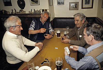 Domino Game In An English Pub In 1989 Art Print by David Davies