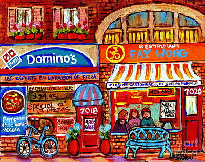 Montreal Storefronts Painting - Domino Pizza And Yellow Dragon Faye Wong Chinese Restaurant Storefronts City Scenes Carole Spandau  by Carole Spandau