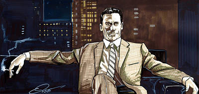 Print Drawing - Don Draper by Dave Olsen