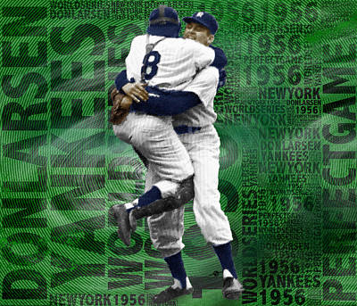 Yankee Stadium Painting - Don Larsen Yankees Perfect Game 1956 World Series  by Tony Rubino
