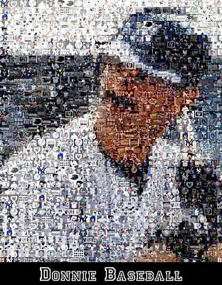 Don Mattingly Yankees Mosaic Art Print by Paul Van Scott