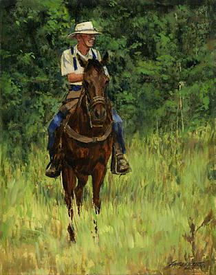 Jack On His Horse Chico Art Print by Don  Langeneckert