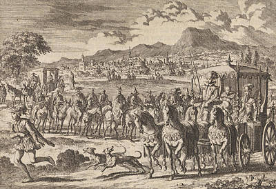 Pedro Drawing - Don Pedro, Regent Of Portugal, Goes From Lisbon by Jan Luyken And Pieter Van Der Aa (i)