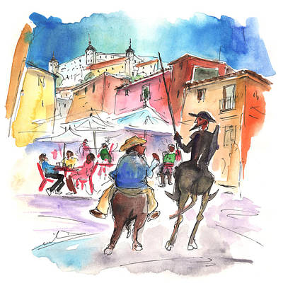 Ink Art Drawing - Don Quijote And Sancho Panza Entering Toledo by Miki De Goodaboom