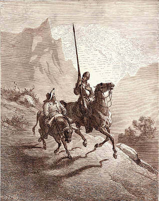 Miguel Art Drawing - Don Quixote And Sancho Setting Out, By Gustave Dore by Litz Collection