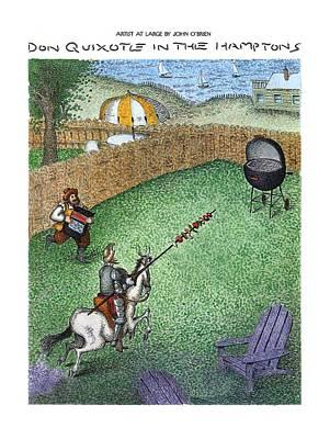 Seashore Drawing - Don Quixote In The Hamptons by John O'Brien