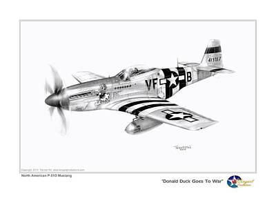 P51 Drawing - Donald Duck Goes To War by Trenton Hill